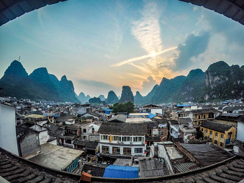 Roof top view of China and Mountians