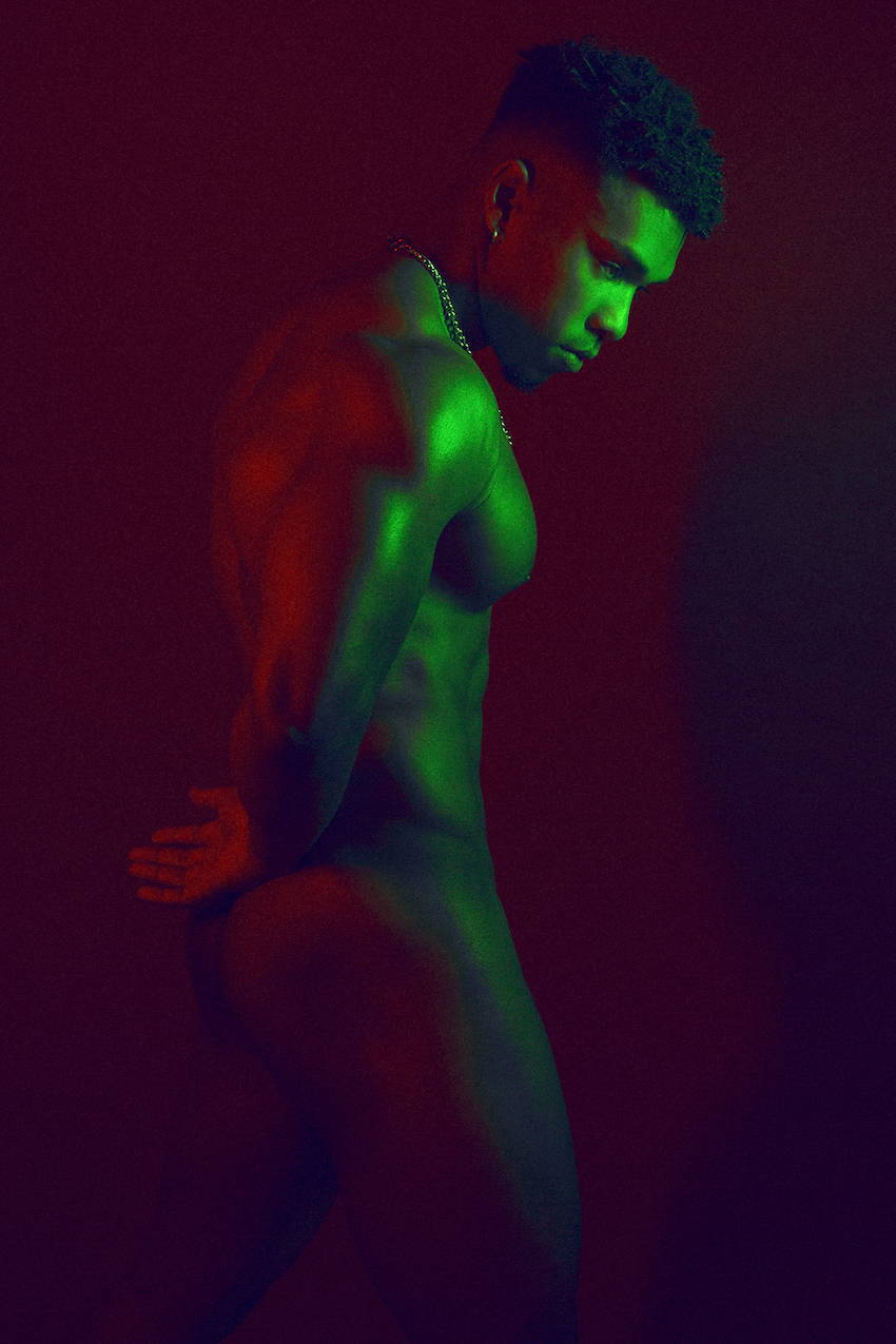 Jermaine Kabongo by Adrian C. Martin, Green vs Red colours | It's About The Man | Male Model, Model In Underwear, Naked Male Model, Model with facial piercings, male model with tattoos