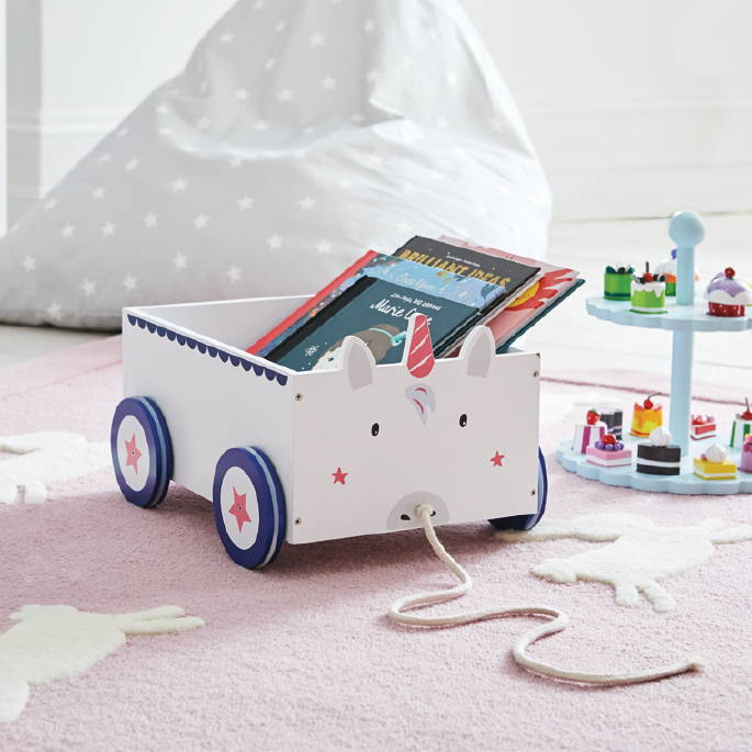 Unicorn book cart for kids