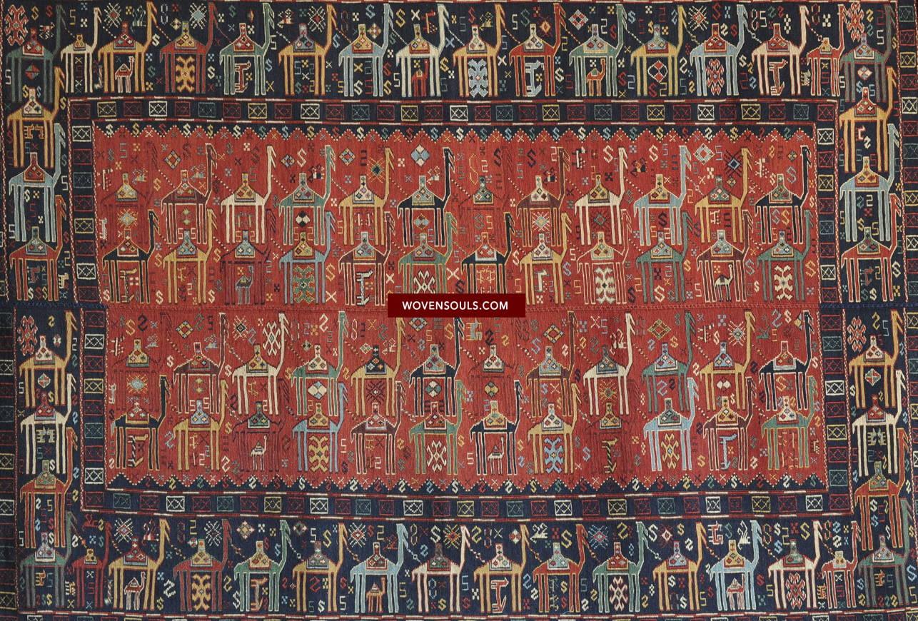 Antique Shadda Verneh Camel Caravan Rug Carpet