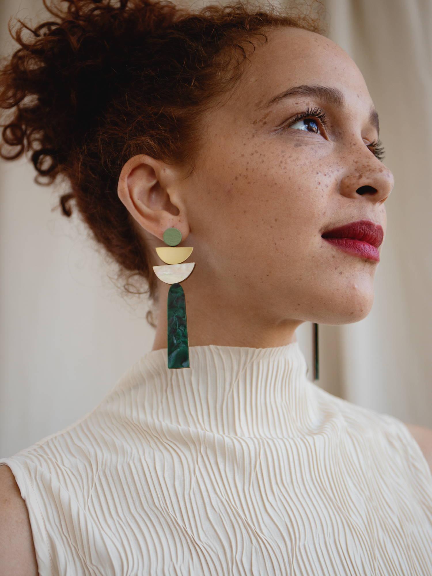 Selene Earrings in Green Marble