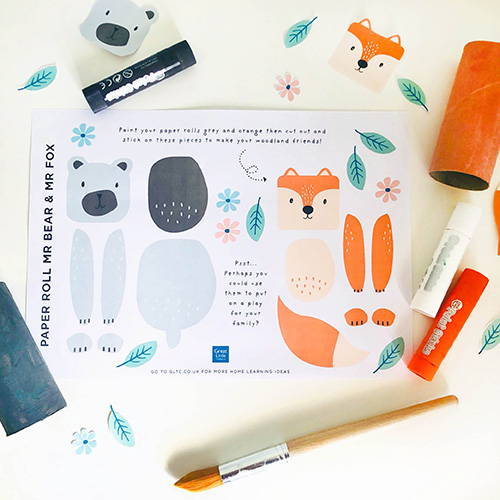 Bear and Fox paper roll craft