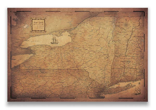 New York Push pin travel map golden aged