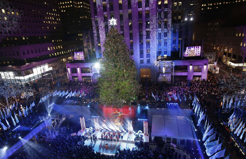 Der Berühmteste Weihnachtsbaum In New York Am Rockefeller