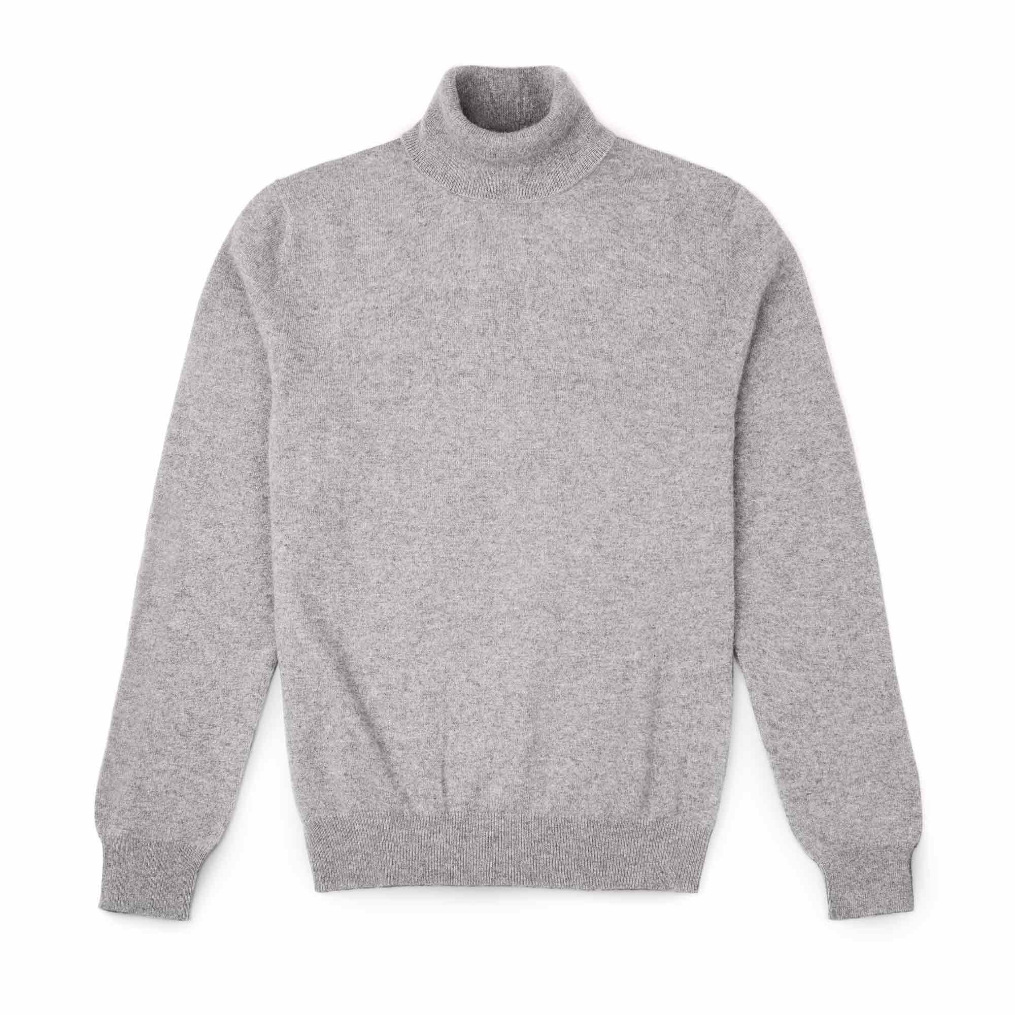 Luca Faloni Dolomiti Grey Pure Cashmere Roll Neck Made in Italy