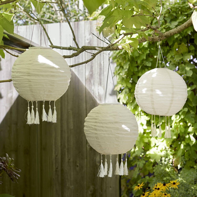 3er Set Solar Lampions im Garten