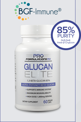Bottle of Glucan Elite emphasizing the 85% Purity