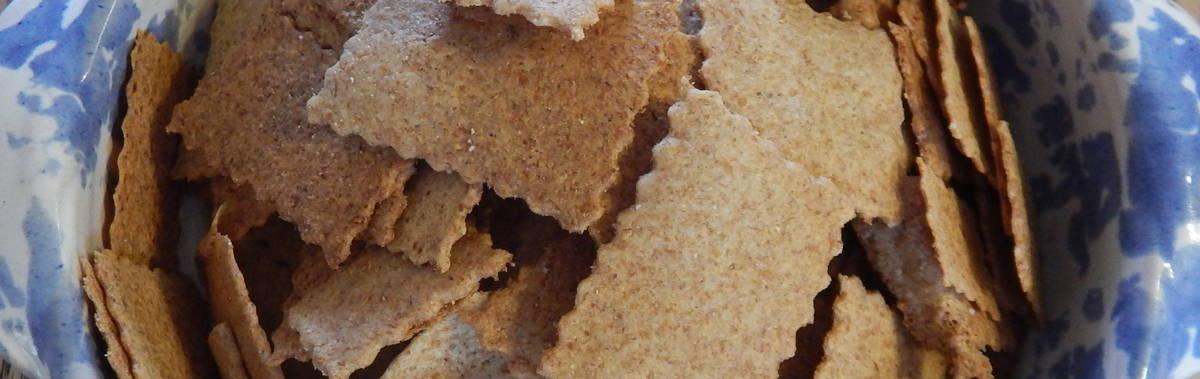 homemade sourdough crackers in a bowl