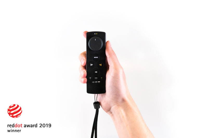 Remote held up by hand