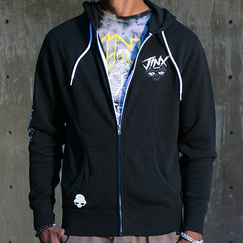 Photo of male model wearing a JINX Brand hoodie