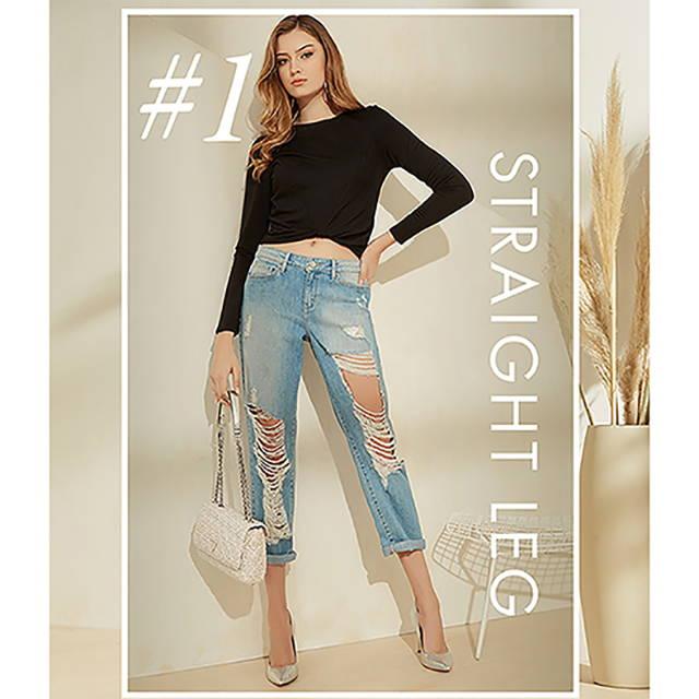 A woman wearing straight leg denim jeans