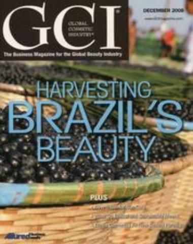 GCI magazine cover Harvesting Brazil's Beauty, baskets of blueberries