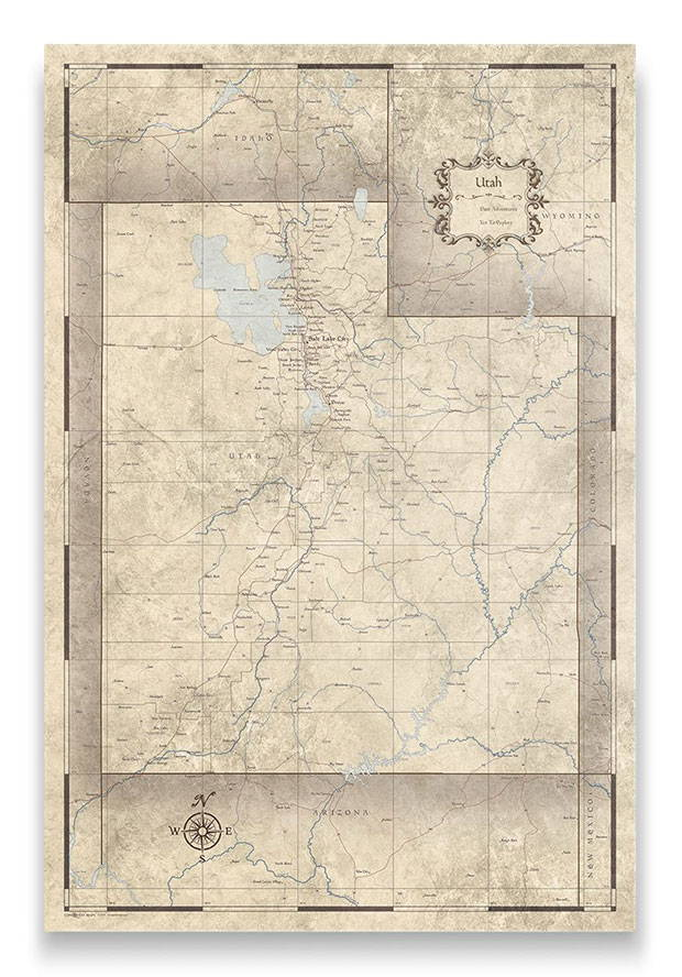 Utah Push pin travel map rustic vintage