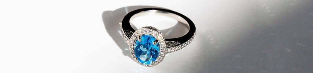 Palladium Ring with Blue Topaz
