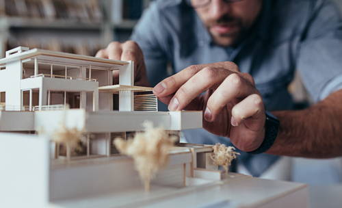 Architect creating model
