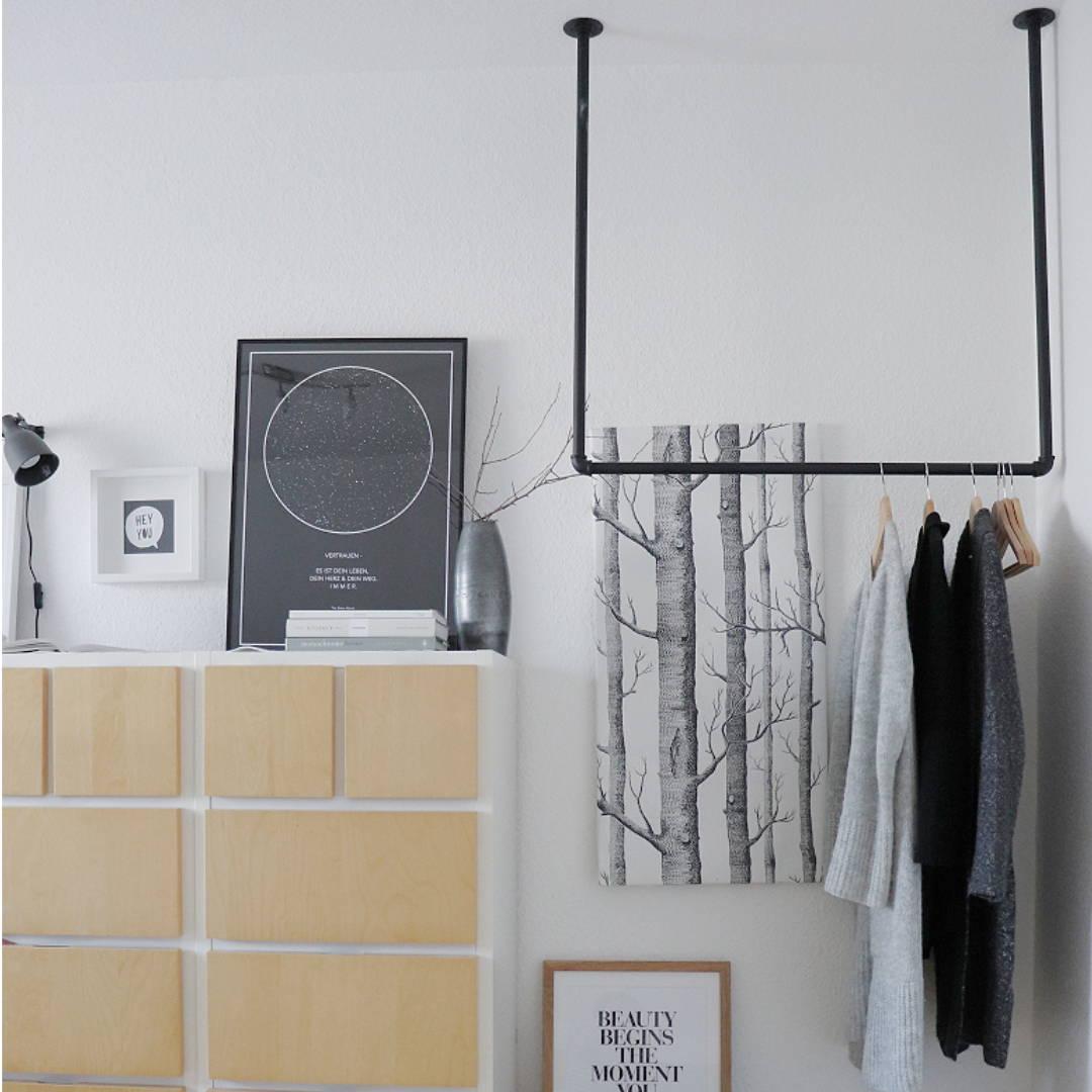 Deckenhänger kupfer rohr schwarz seil DIY wasserrohr
