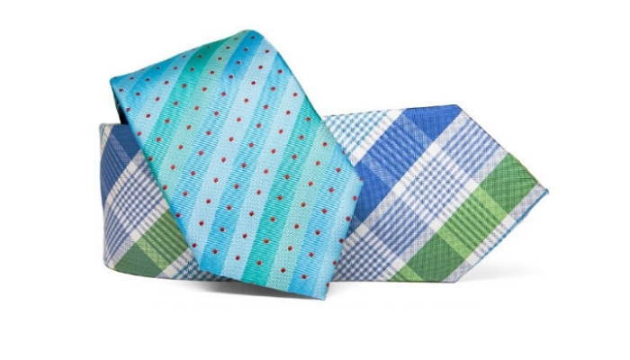 Two neckties in bright summer patterns