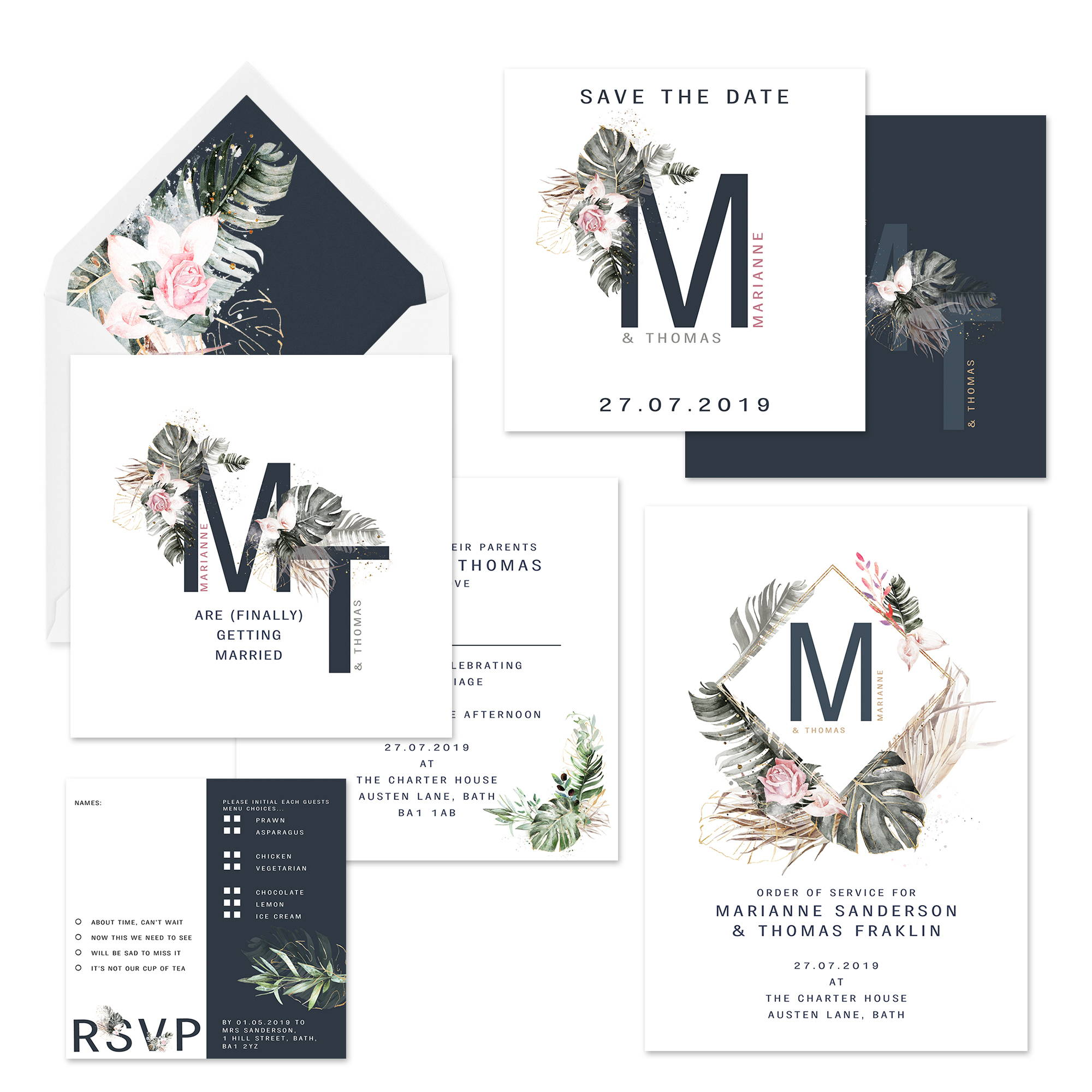 Mustard and Gray Ledbury Floral Monogramed Wedding Stationery