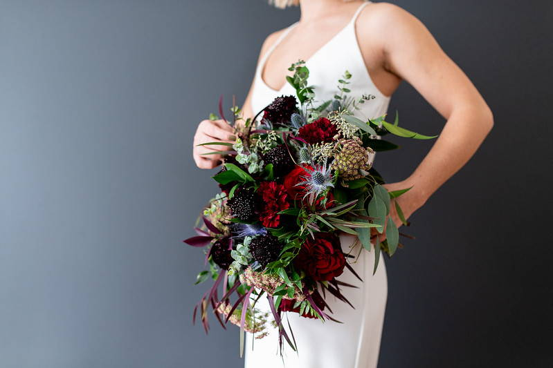Red heart roses, chocolate Queen Anne's lace, burgundy Scabiosa dark and moody wedding bouquet DIY