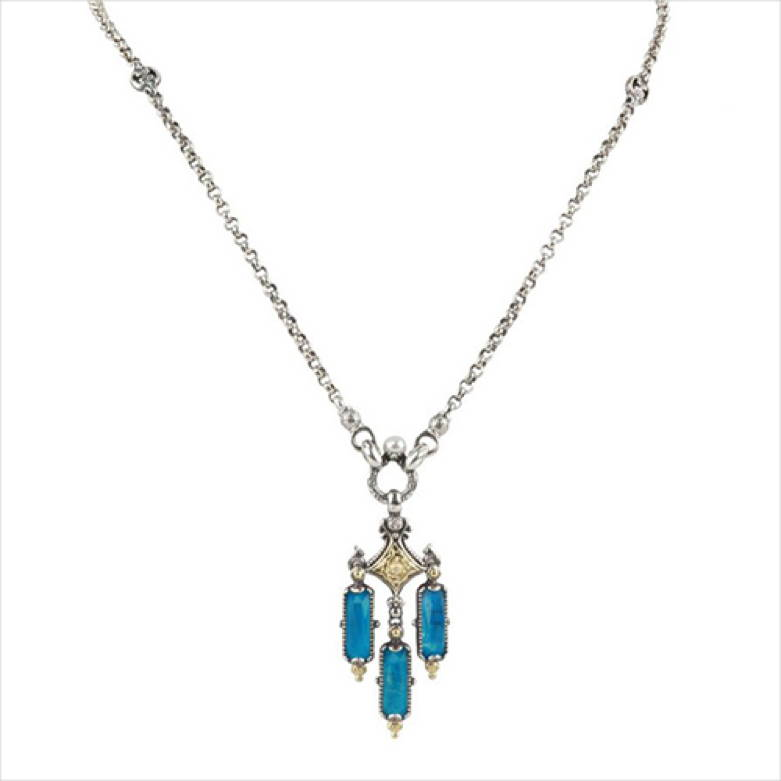 Sterling Silver and 18K Gold Necklace with Chrysocolla Doublet Gemstone