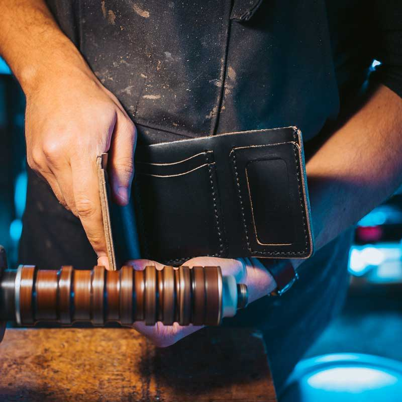 Burnishing a Black Leather Trifold Wallet