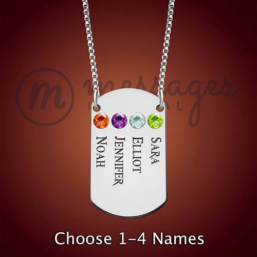 Silver Dog Tag Family Birthstone Necklace