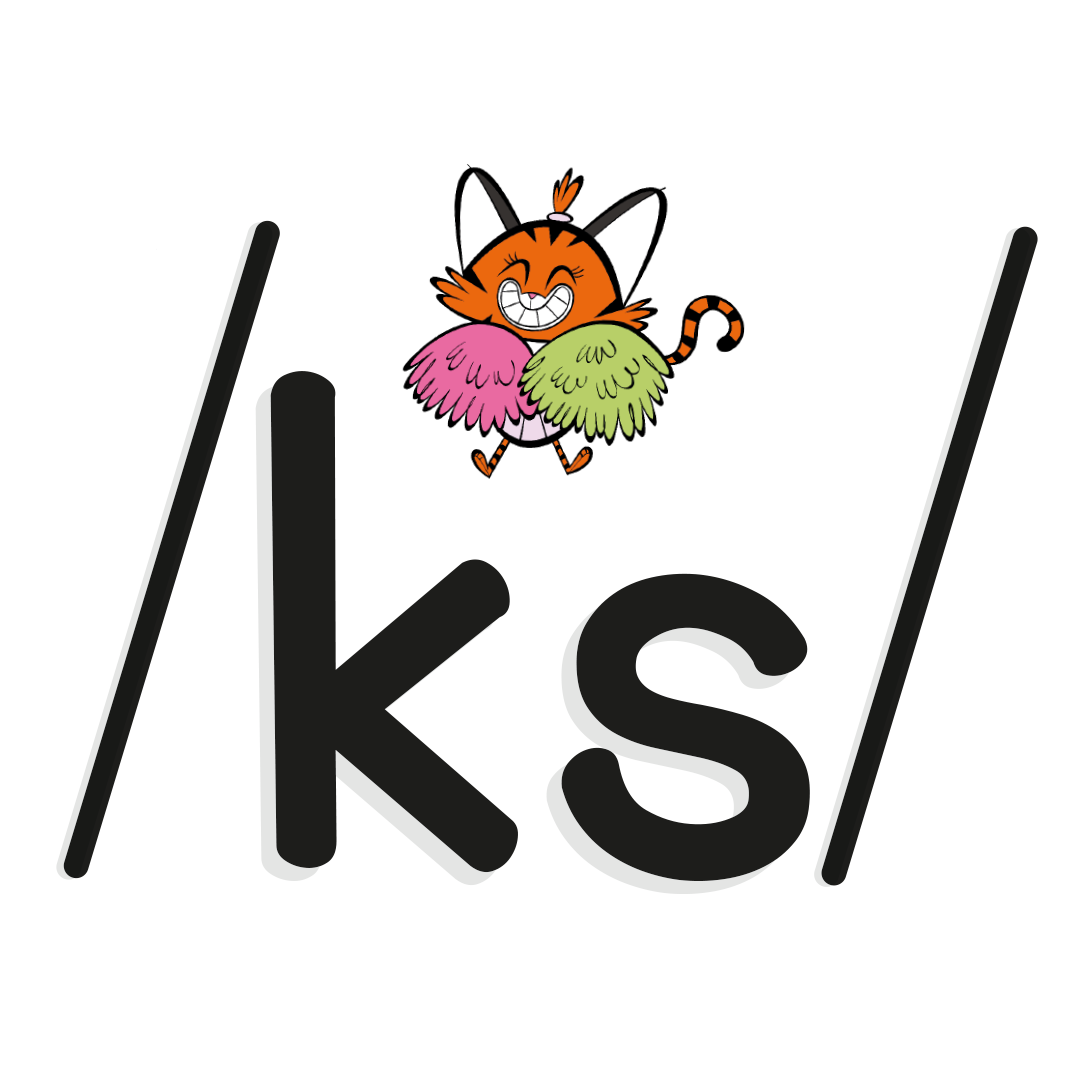 Illustrated character next to the phoneme /ks/