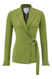 Galvan London Belted Khaki Green Blazer Jacket