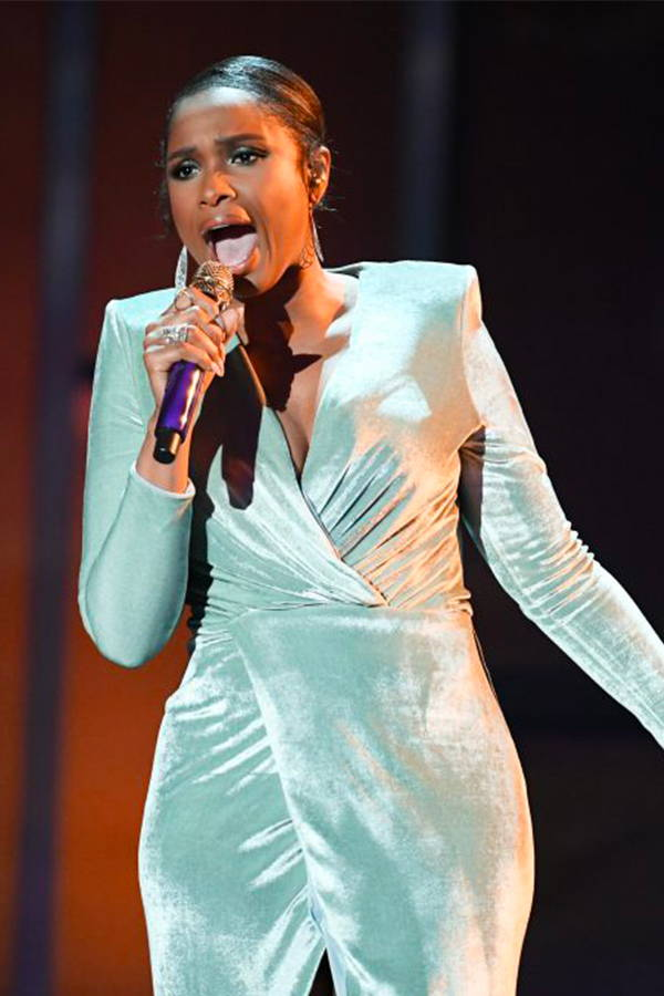 Jennifer Hudson wears Galvan London Light Green Velvet V neck Wrap Dress