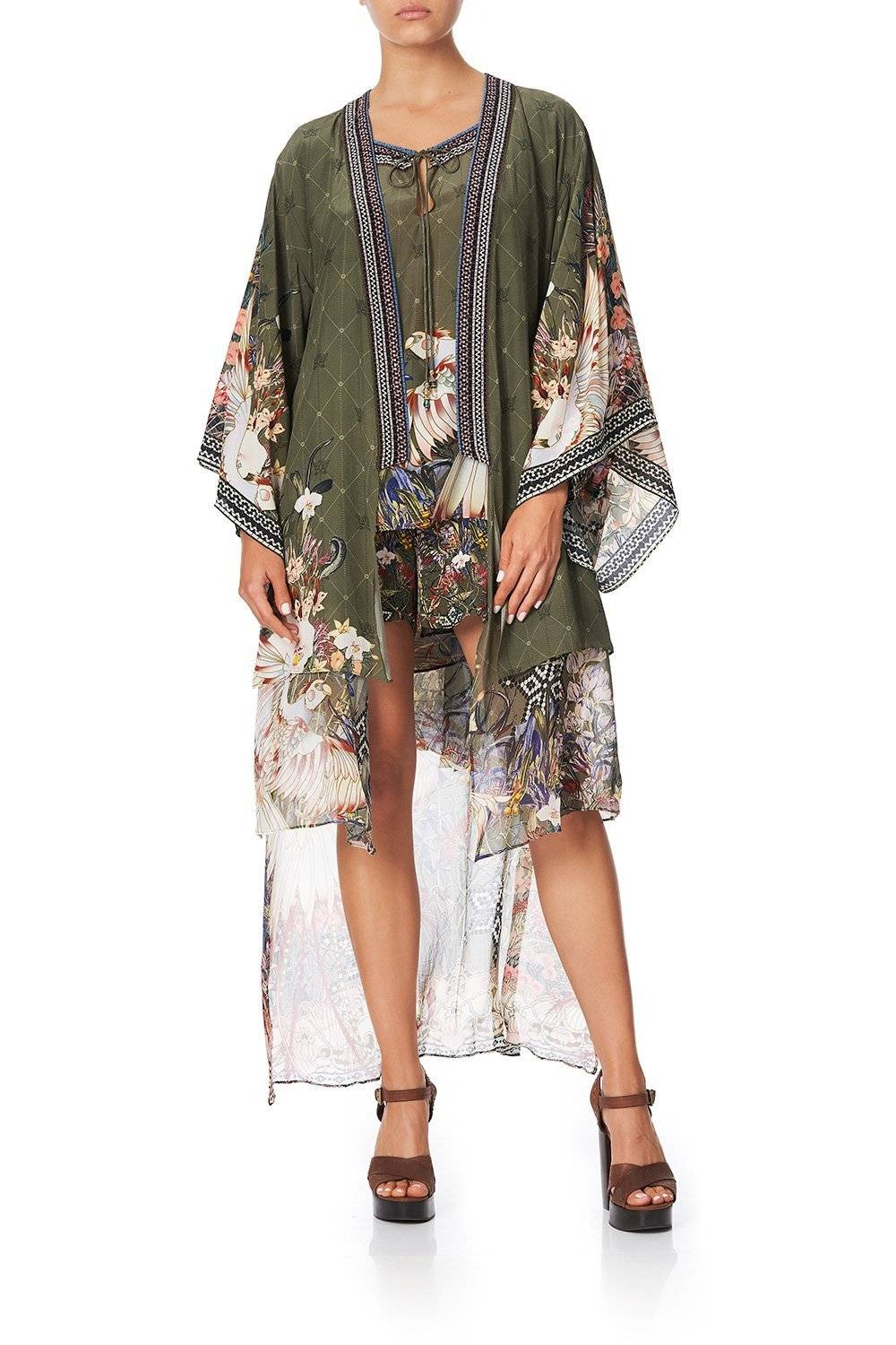 WATCHFUL WINGS KIMONO WITH LONG UNDERLAYER