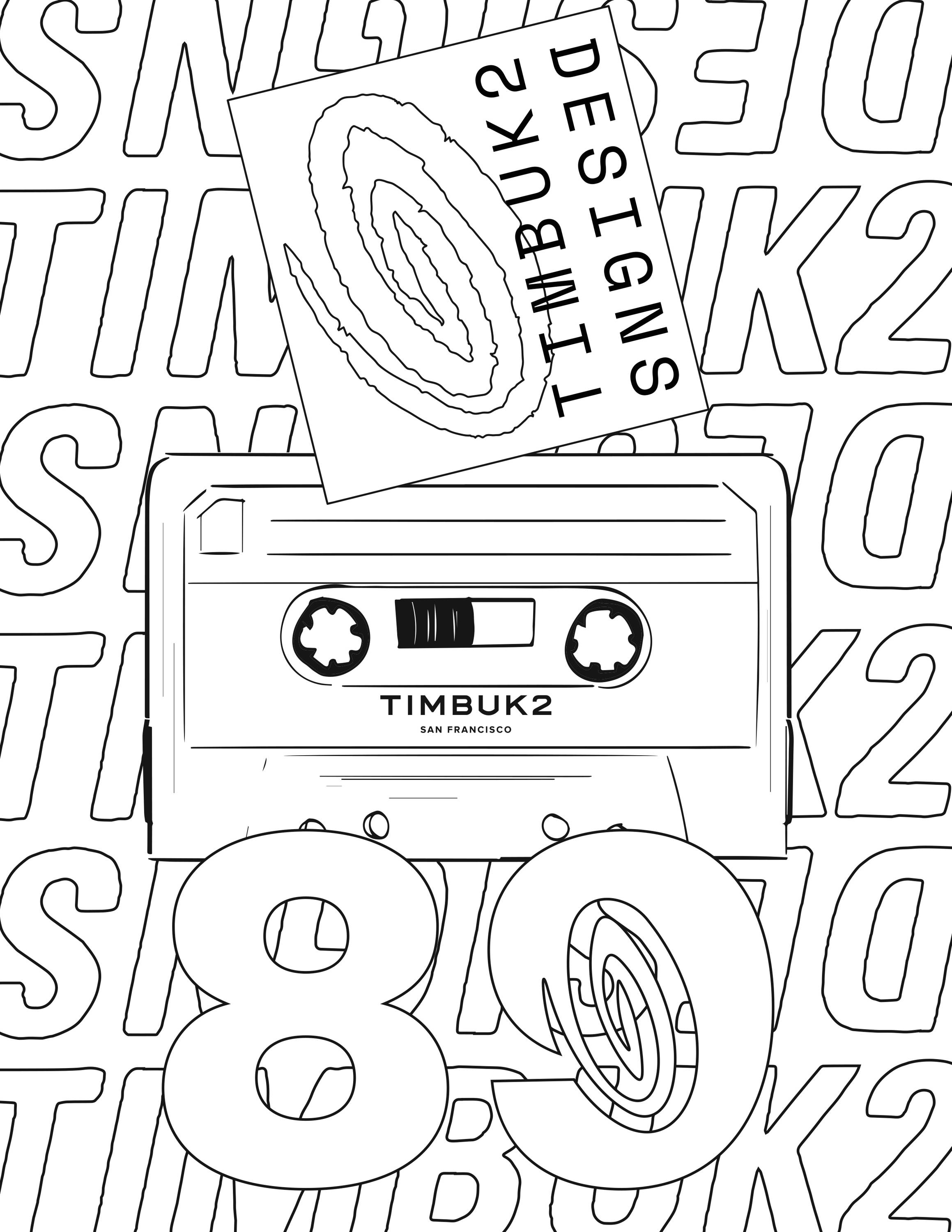 Black and white outline of a cassete tape, the number 80 and the Timbuk2 designs logo. Timbuk2 designs is repeated in the background in all caps.