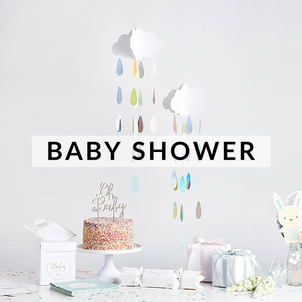 Stylish and modern baby shower, Christening and gender reveal party supplies, decorations and games.
