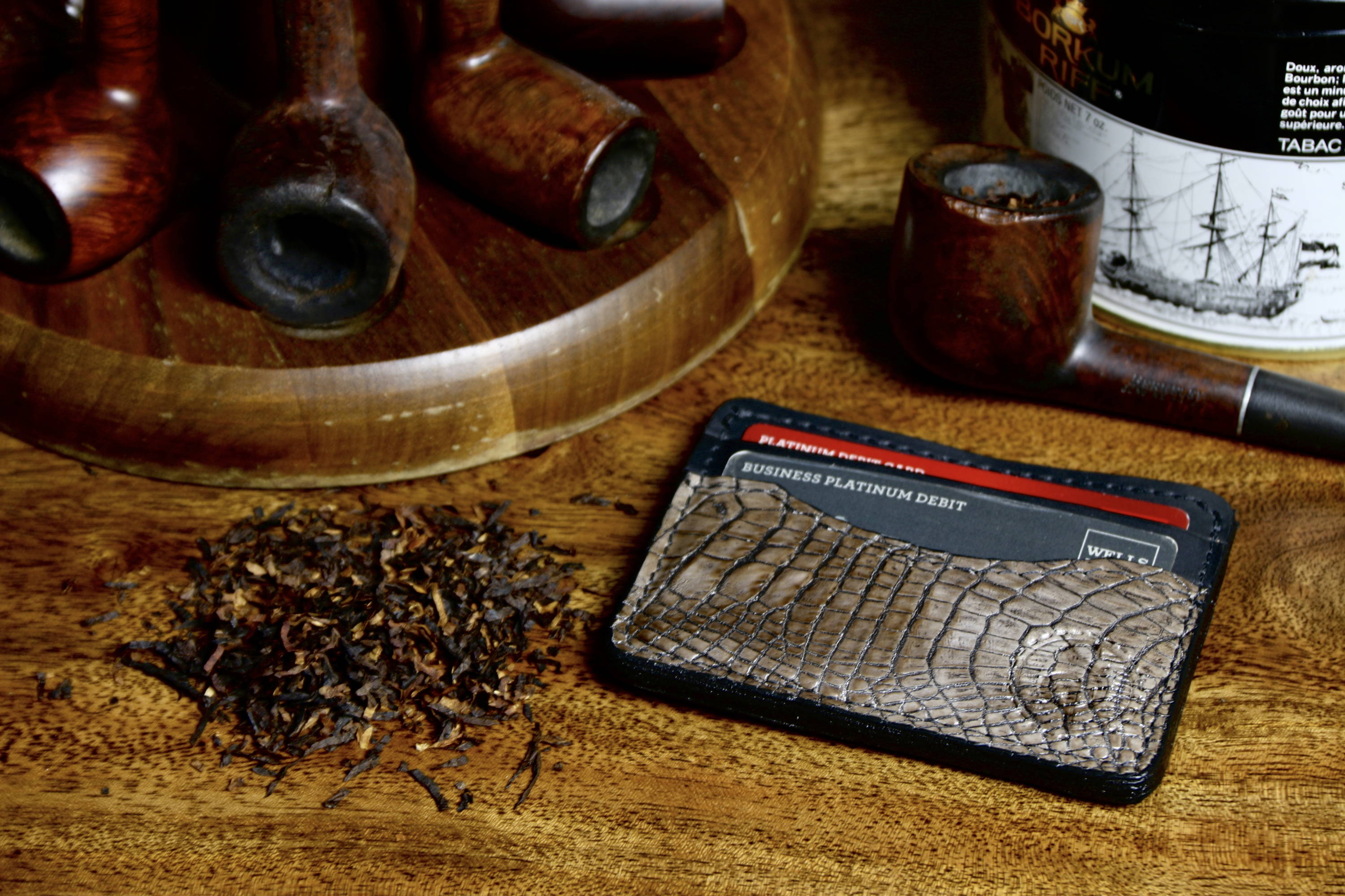 Alligator Skin front Pocket wallet slim wallet