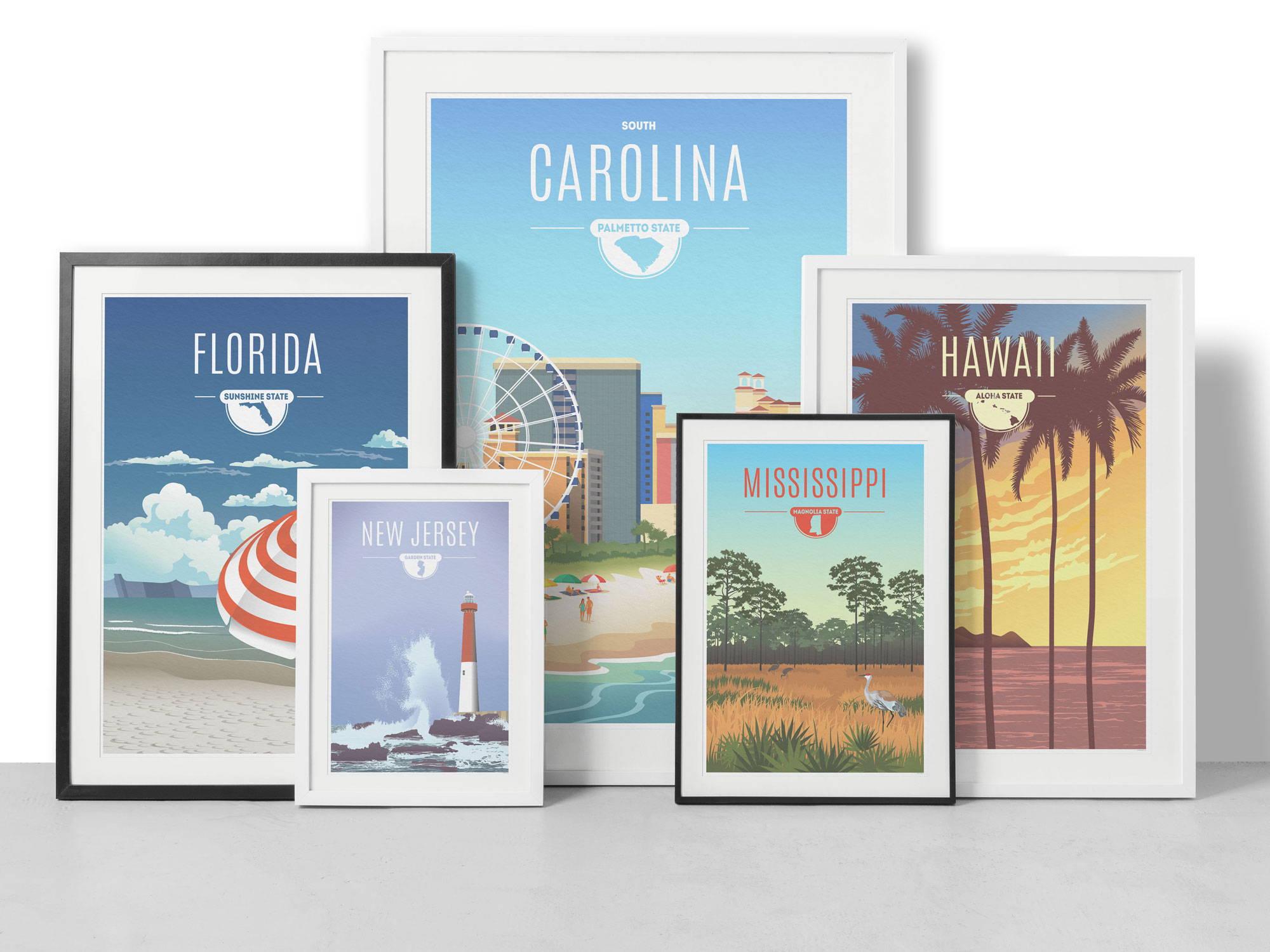 State Art print - Hawaii Florida, new Jersey Mississippi