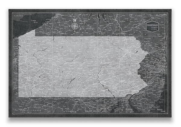 Pennsylvania Push pin travel map modern slate