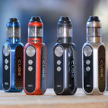 OBS Cube 80W sub ohm kit in blue, red, black and silver