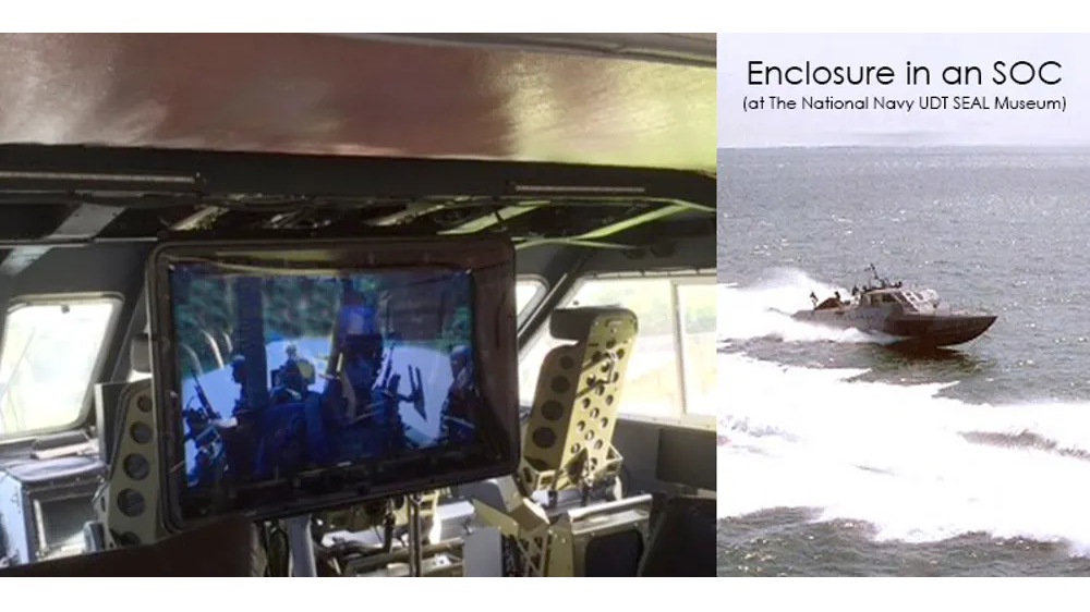 The TV Shield outdoor TV cabinet for harsh environments at The National Navy UDT SEAL Museum