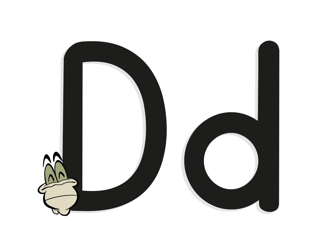 The letter D with an illustrated worm
