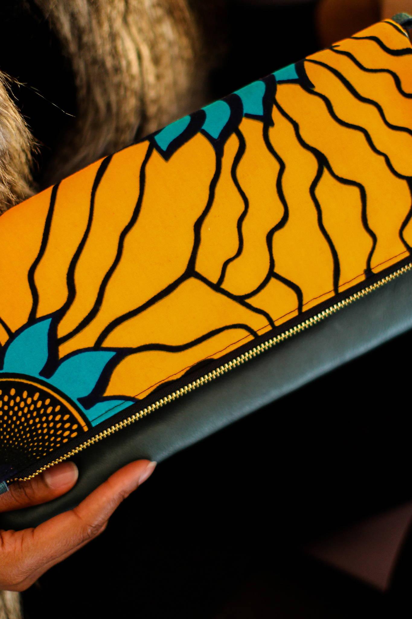 ANKARA CLUTCH - YELLOW SUNFLOWER $ 80