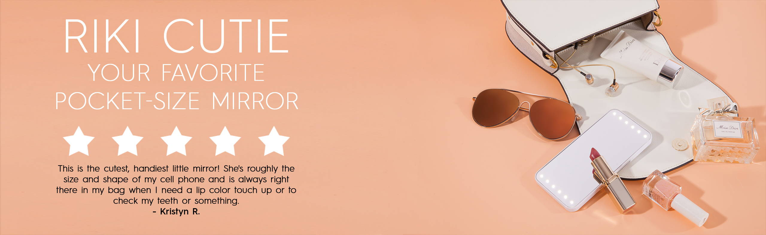 RIKI CUTIE is the best mini makeup mirror with lights at pocket-size