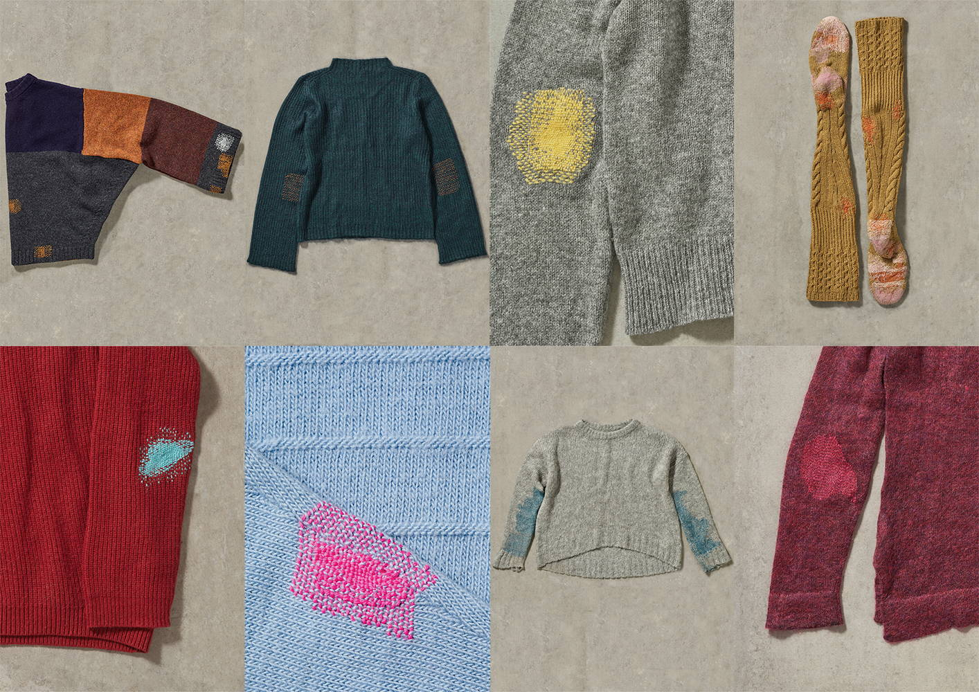 A grid of mended pieces from textile artist Celia Pym.