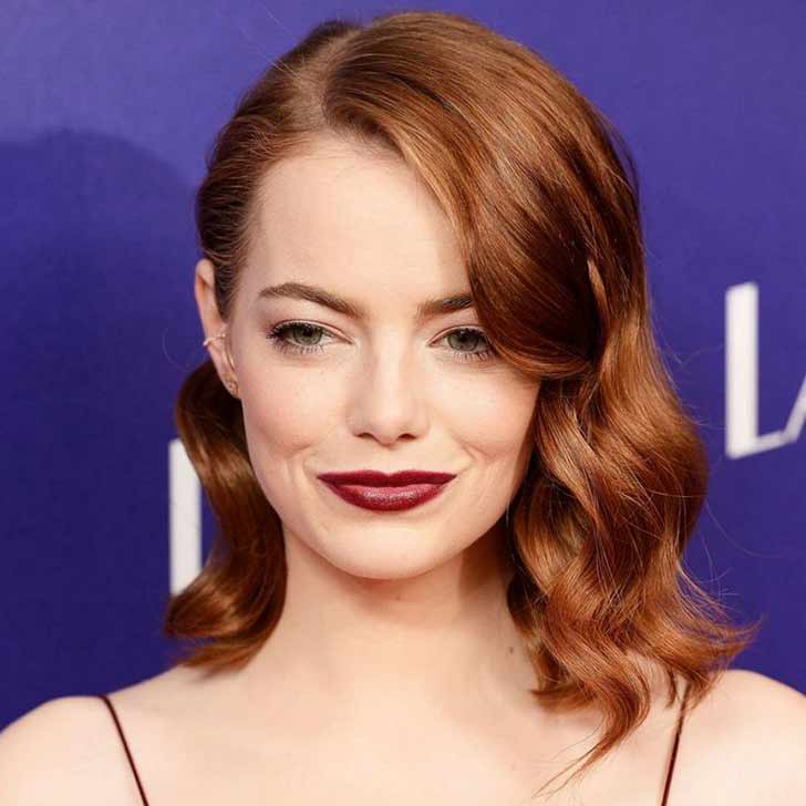 Emma Stone with curly hair