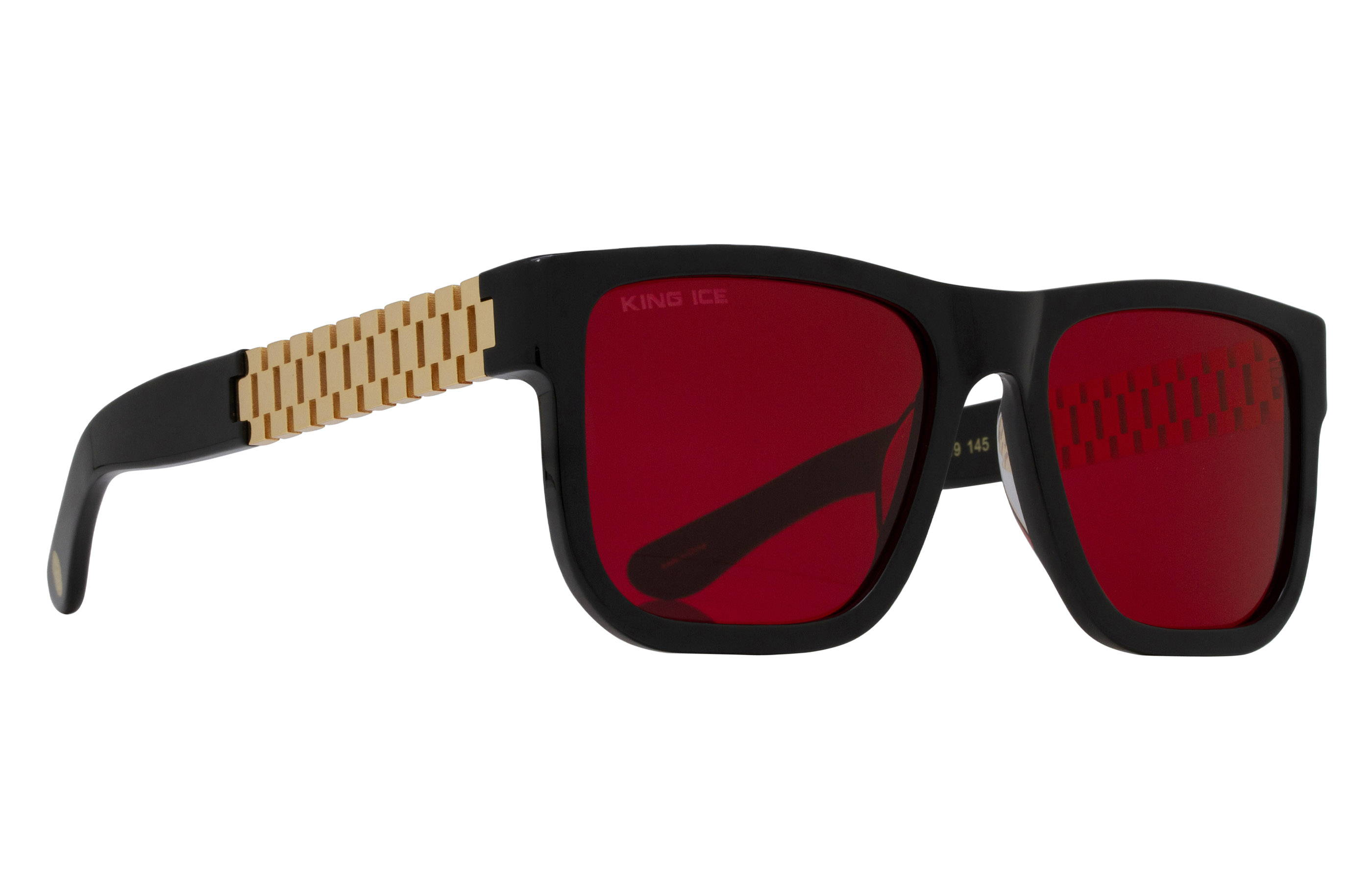King Ice Gold Link Shades with Glossy Black Frame & Red Tint Lenses