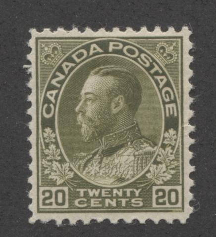 A re-perforated 20c olive green King George V stamp from the 1911-1928 Admiral Issue of Canada