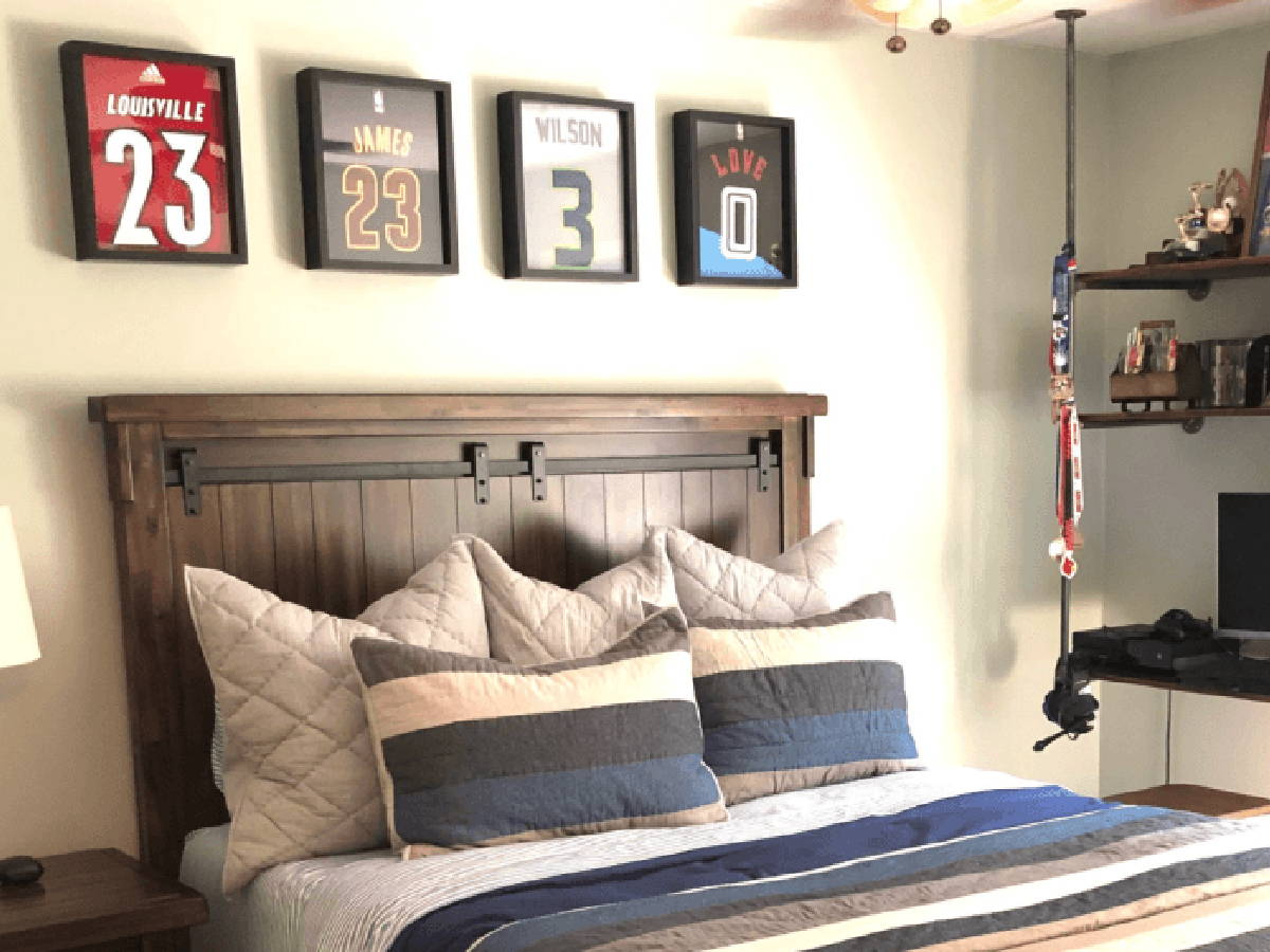 Lebron James, Russell Wilson and Kevin Love jerseys framed and displayed in Shart Original T-Shirt Frames