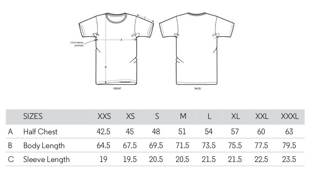 Size Chart Clifton Crew T-Shirt