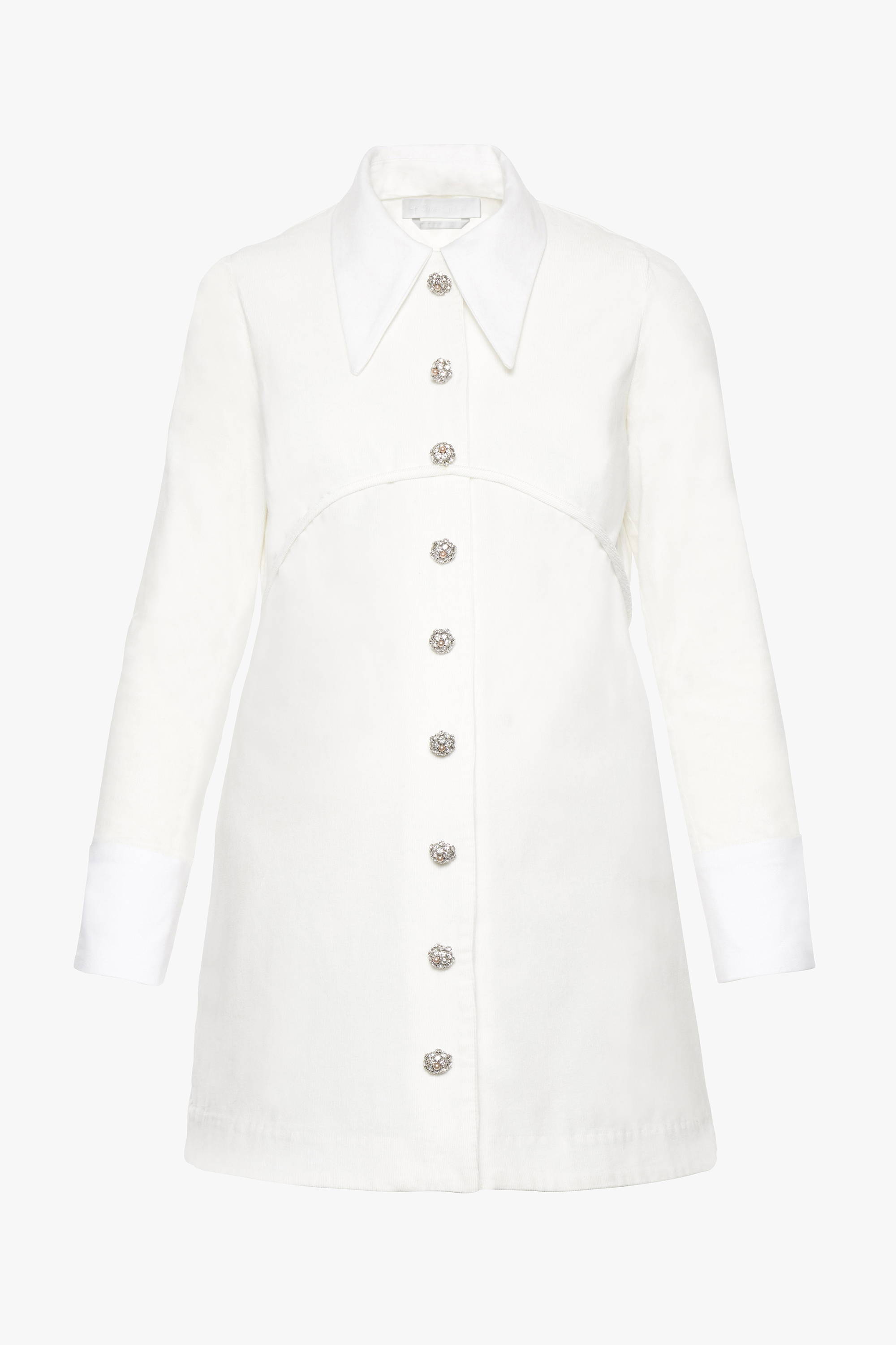 The maternity friendly Laurel dress in white corduroy with a detachable collar