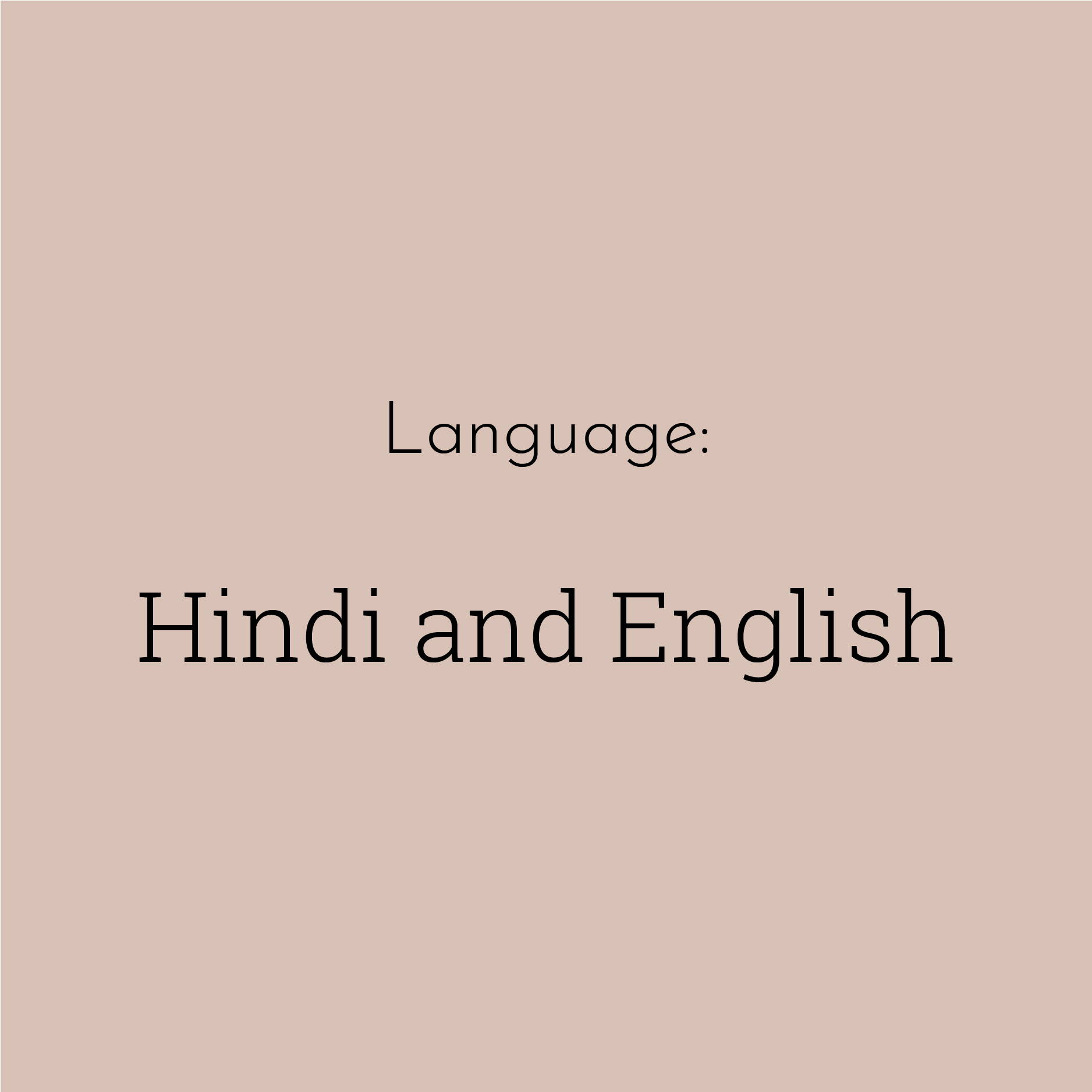 "A solid brown block contains the text ""Hindi and English"""