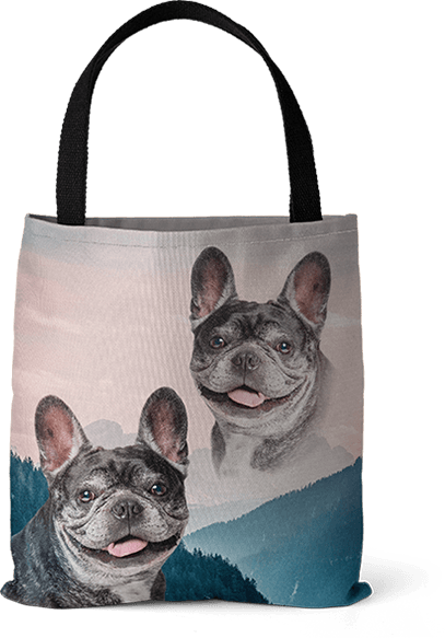 retro dog art on tote bag