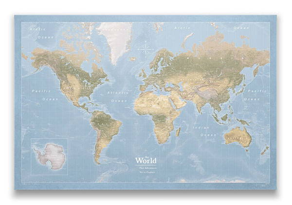 World Map Pin Board Natural Earth